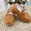 รองเท้าคัทชูเด็กหนัง PU สีน้ำตาล ประดับโลหะและริบบิ้นฝรั่งเศส Size 21-30 thumbnail 4