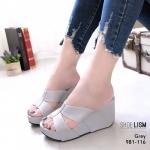 รองเท้าแฟชั่น ส้นเตารีด แบบสวม เรียบเก๋ หนังนิ่ม พื้นนิ่ม ทรงสวยเก็บหน้าเท้า ส้นสูง 3.5 นิ้ว ใส่สบาย แมทสวยได้ทุกชุด (981-116)