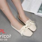 รองเท้าคัทชู ส้นแบน หนังนิ่มแต่งโบว์ผูกด้านหน้าสวยหวานน่ารัก พื้นยางนิ่มยืดหยุ่น ใส่สบาย แมทสวยได้ทุกชุด (892-28)
