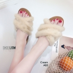 รองเท้าแตะแฟชั่น แบบสวม แต่งขนเฟอร์ฟูนิ่มสวยเก๋น่ารัก งานสวย ใส่สบาย แมทสวยได้ทุกชุด (A02)