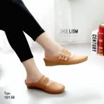 รองเท้าคัทชู เปิดส้น แต่งลายน่ารัก เข็มขัด 3 เส้นสวยเก๋ ปรับระดับได้ หนังนิ่ม พื้นบุนวมนิ่ม ทรงสวย สูง 1 นิ้ว ใส่สบาย แมทสวยได้ทุกชุด (10138)