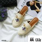 รองเท้าคัทชู เปิดส้น ลายผึ้งแต่งอะไหล่สวยสไตล์กุชชี่ ใส่สบาย แมทสวยได้ทุกชุด (G3310)