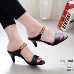 รองเท้าแฟชั่น ส้นสูง แบบสวม ทรงแมกซี่แต่งโซ่ทองสวยหรู หนังนิ่ม พื้นนิ่ม งานสวย ใส่สบาย ส้นสูง 2.5 นิ้ว แมทสวยได้ทุกชุด (4042)