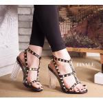 รองเท้าแฟชั่น ส้นสูง รัดข้อ แบบสวม แต่งหมุดสไตล์วาเลนติโนสวยเก๋ ส้นใสอินเทรนด์ ทรงสวย สูงประมาณ 4 นิ้ว ใส่สบาย แมทสวยได้ทุกชุด