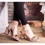 รองเท้าแฟชั่น แบบสวม รัดส้น แต่งอะไหล่ทองด้านหน้าสวยหรู ส้นสูงประมาณ 3 นิ้ว ใส่สบาย แมทสวยได้ทุกชุด