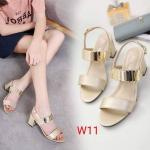 รองเท้าแฟชั่น ส้นสูง รัดส้น แต่งอะไหล่ทองด้านหน้าสวยหรู ทรงสวย หนังนิ่ม ใส่สบาย ส้นสูงประมาณ 2.5 นิ้ว แมทสวยได้ทุกชุด (B081-1)