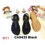 รองเท้าแตะแฟชั่น รัดส้น แบบสวม แต่งคลิสตัลสวยหรู หนังนิ่ม พื้นนิ่ม ทรงสวย รัดส้นยางยืดนิ่ม ใส่สบาย แมทสวยได้ทุกชุด (CA9433)