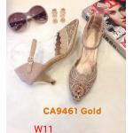 รองเท้าคัทชู ส้นเตี้ย รัดส้น หนังกลิสเตอร์วิ้งแต่งคลิสตัลสวยหรู ทรงสวย ส้นสูงประมาณ 2 นิ้ว ใส่สบาย แมทสวยได้ทุกชุด (CA9461)