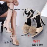 รองเท้าแฟชั่น ส้นสูง แบบสวม รัดส้น แต่งขนเฟอร์ปอมฟูนุ่มสวยเก๋น่ารัก ทรงสวย หนังนิ่ม ส้นสูงประมาณ 4.5 นิ้ว ใส่สบาย แมทสวยได้ทุกชุด (17-5192)