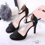 รองเท้าแฟชั่น ส้นสูง รัดข้อ หนังกลิสเตอร์เป็นประกายสวยหรู ทรงสวย หนังนิ่ม งานสวย ส้นสูงประมาณ 4 นิ้ว ใส่สบาย แมทสวยได้ทุกชุด (G5286)