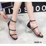 รองเท้าแฟชั่น ส้นสูง รััดข้อ แบบสวม ดีไซน์เก๋คาดหนังเส้นเรียบหรูดูดี ส้นใสอินเทรนด์ สูงประมาณ 2.5 นิ้ว ใส่สบาย แมทสวยได้ทุกชุด (5065-4)