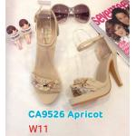รองเท้าแฟชั่น ส้นสูง แบบสวม รัดข้อ แต่งระบายจีบประดับอะไหล่ทองสวยเก๋ ทรงสวย ส้นสูงประมาณ 4 นิ้ว แมทสวยได้ทุกชุด (CA9526)