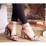 รองเท้าแฟชั่น ส้นสูง รัดข้อ แต่งอะไหล่ทองด้านหน้าและสายรัดข้อสวยเก๋ ทรงสวย หนังนิ่ม ส้นสูงประมาณ 3 นิ้ว ใส่สบาย แมทสวยได้ทุกชุด