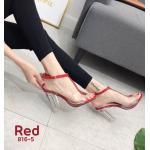 รองเท้าแฟชั่น ส้นสูง รัดส้น แต่งคาดหน้าพลาสติกใสนิ่ม ส้นใสสวยเก๋อินเทรนด์ ทรงสวย หนังนิ่ม ส้นสูงประมาณ 4 นิ้ว ใส่สบาย แมทสวยได้ทุกชุด (816-5)