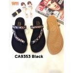 รองเท้าแตะแฟชั่น แบบสวมนิ้วโป้ง คาดหน้าเฉียงแต่งอะไหล่คลิสตัลสวยหรู พื้นนิ่ม ใส่สบาย แมทสวยได้ทุกชุด (CA9353)