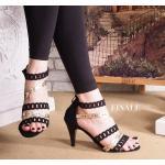 รองเท้าแฟชั่น ส้นสูง แบบสวม รัดข้อ หนังเส้นฉลุลายสวยเก๋ ซิปหลังใส่ง่าย ทรงสวย ส้นสูงประมาณ 3 นิ้ว ใส่สบาย แมทสวยได้ทุกชุด
