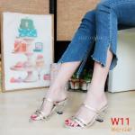รองเท้าแฟชั่น ส้นสูง แบบสวม แต่งคาดหน้าสวยเก๋ ส้นใสอินเทรนด์ สูงประมาณ 3 นิ้ว ใส่สบาย แมทสวยได้ทุกชุด (M1857)