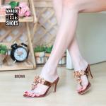 รองเท้าแฟชั่น ส้นสูง แบบหนีบ แต่งอะไหล่ดอกไม้ด้านหน้าสวยหรู ทรงสวย ส้นสูงประมาณ 3 นิ้ว แมทสวยได้ทุกชุด (MX4030)