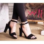 รองเท้าแฟชั่น ส้นสูง รัดข้อ แบบสวม หนังสักหราดสวยเรียบหรู ทรงสวย สูงประมาณ 4 นิ้ว ใส่สบาย แมทสวยได้ทุกชุด