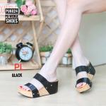 รองเท้าแฟชั่น ส้นเตารีด แบบสวม คาด 2 ตอน แต่งกลิสเตอร์วิ้งสวยเก๋ ใส่สบาย แมทสวยได้ทุกชุด (PU6024)