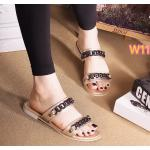 รองเท้าแตะแฟชั่น แบบสวม คาด 2 ตอน แต่งโซ่สวยเก๋สไตล์แบรนด์ ใส่สบาย แมทสวยได้ทุกชุด