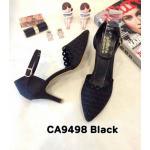 รองเท้าคัทชู รัดส้น ส้นเตี้ย หนังกลิสเตอร์แต่งลายฉลุสวยหรู หนังนิ่ม ทรงสวย ใส่สบาย ส้นสูงประมาณ 2.5 นิ้ว แมทสวยได้ทุกชุด (CA9498)