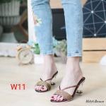 รองเท้าแฟชั่น ส้นสูง แบบสวม แต่งกลิสเตอร์สวยเป็นประกาย ส้นใสสวยหรู ทรงสวย หนังนิ่ม ส้นสูงประมาณ 3 นิ้ว ใส่สบาย แมทสวยได้ทุกชุด (M1878)
