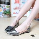 รองเท้าคัทชู ส้นแบน หนังเมทัลลิคเงา เว้าข้างด้านนอกแต่งโซ่ทองสวยเก๋ ทรงสวย ใส่สบาย แมทสวยได้ทุกชุด (DC7154)