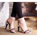รองเท้าแฟชั่น ส้นสูง รัดข้อ แบบสวม แต่งอะไหล่สไตล์กุชชี่ ทรงสวย ส้นสูงประมาณ 3 นิ้ว แมทสวยได้ทุกชุด