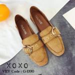 รองเท้าคัทชู ส้นแบน วัสดุหนังสักหราดแต่งบนเข็มขัดคาดสวยเก๋ หนังนุ่ม ส้นพับ สามารถเหยียบส้นได้ ทรงสวย ใส่สบาย แมทสวยได้ทุกชุด (G-1330)