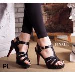 รองเท้าแฟชั่น ส้นสูง รัดข้อ สไตล์อีฟแซงสวยหรู หนังพิมพ์ลายเก๋ ส้นสูงประมาณ 5 นิ้ว เสริมหน้า 1 นิ้ว แมทสวยได้ทุกชุด (FH-448)