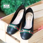 รองเท้าคัทชู ส้นแบน ทรงหัวมนแต่งอะไหล่แถบสีสไตล์กุชชี่สวยเก๋ หนังนิ่ม ทรงสวย ใส่สบาย แมทสวยได้ทุกชุด (DC7070)