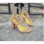 รองเท้าแฟชั่น ส้นสูง รัดส้น ทรงสวม แต่งสายไขว้หน้าสวยเก๋ สายรัดปรับระดับได้ ส้นสูง 3 นิ้ว เสริมหน้า 0.5 นิ้ว หนังนิ่ม ทรงสวย ใส่สบาย แมทสวยได้ทุกชุด (M1864)
