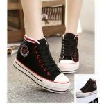 รองเท้าผ้าใบแฟชั่น สไตล์ converse หุ้มข้อ แต่งขอบลายสวยเก๋ ทรงสวย เสริมพื้นหนา ใส่สบาย ใส่เที่ยว ออกกำลังกาย แมทสวยเท่ห์ได้ทุกชุด