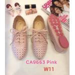 รองเท้าผ้าใบแฟชั่น แต่งฉลุลายสวยหวานสไตล์วินเทจ ผูกเชือกหน้า ทรงสวย หนังนิ่ม ใส่สบาย แมทสวยได้ทุกชุด (CA9663)