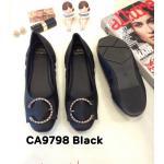 รองเท้าคัทชู ส้นแบน ทรงหัวมน แต่งอะไหล่สวยเก๋ เย็บสม็อคข้างเพิ่มความกระชับ ทรงสวย หนังนิ่ม ใส่สบาย แมทสวยได้ทุกชุด (CA9798)