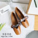 รองเท้าคัทชู ส้นแบน แต่งผ้าคาดลายโบว์ลายเก๋มัดด้านสวยหวาน หน้ากว้างใส่สบาย ไม่บีบหน้าเท้า หนังนุ่ม น้ำหนักเบา แมทสวยได้ทุกชุด (G-1297)