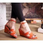 รองเท้าแฟชั่น ส้นเตารีด รัดข้อ แบบสวม หน้า H สไตล์แอร์เมส ทรงสวย หนังนิ่ม ส้นสูงประมาณ 2.5 นิ้ว ใส่สบาย แมทสวยได้ทุกชุด