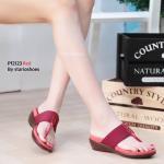 รองเท้าแฟชั่น ส้นเตารีด แบบหนีบ สวยเก๋ พื้นวัสดุ PU ออกแบบให้คล้ายผิวหนังกลับนุ่ม สายคาดงานผ้านุ่มน่าสัมผัส แต่งด้วยหมุดเล็กเรียงตัวแนวยาว งานสวยสะดุดตา ใส่สบาย สวยเก๋ในวันชิวๆ สูง 1.5 นิ้ว สีดำ น้ำตาล แดง แทน (PF2123)