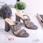 รองเท้าแฟชั่น ส้นสูง แบบสวม แต่งคาดหน้าลายฉลุสวยเก๋ หนังนิ่ม ทรงสวย ส้นตัดสูง 3 นิ้ว ใส่สบาย สีดำ ครีม ชมพู แมทสวยได้ทุกชุด (12-87)