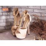 รองเท้าแฟชั่น ส้นสูง แบบสวม รัดข้อ หนัังสักหราดแต่งโซ่ทองสวยหรู ส้นสูงประมาณ 6 นิ้ว เสริมหน้า 1.5 นิ้ว ใส่ออกงาน ปาร์ตี้ แมทสวยโดดเด่นได้ทุกชุด