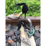 รองเท้าคัทชู ส้นสูง รัดข้อ ทรงหัวแหลมแต่งลายหนังงูสวยหรู ส้นสูงประมาณ 4 นิ้ว ทรงสวย แมทสวยได้ทุกชุด