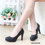 รองเท้าคัทชู ส้นสูง หนังเลื่อมสวยเรียบเก๋ หนังนิ่ม ทรงสวย ส้นสูงประมาณ 4 นิ้ว ใส่สบาย แมทสวยได้ทุกชุด (L1156)