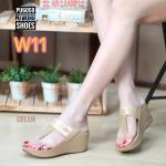 รองเท้าแฟชั่น ส้นเตารีด แบบหนีบ สวยเรียบเก๋แต่งอะไหล่จรเข้ ใส่สบาย แมทสวยโดดเด่นได้ทุกชุด (PU6059)