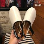 รองเท้าคัทชู ส้นแบน รัดส้น แต่งสายรัดส้นสวยเรียบเก๋สไตล์จีวองชี หนังนิ่ม ทรงสวย ใส่สบาย แมทสวยได้ทุกชุด