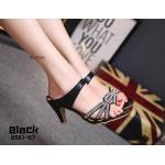 รองเท้าแฟชั่น แบบสวม ส้นสูง แต่งคลิสตัลเพชรสวยหรู หนังนิ่ม ส้นสูงประมาณ 3 นิ้ว ใส่สบาย แมทสวยได้ทุกชุด (BA561-67)