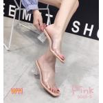 รองเท้าแฟชั่น แบบสวม ส้นใส คาดหน้าพลาสติกใสนิ่มสวยเก๋ อินเทรนด์ ส้นสูงประมาณ 2.5 นิ้ว ใส่สบาย แมทสวยได้ทุกชุด (5065-5)