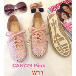 รองเท้าผ้าใบแฟชั่น แต่งฉลุลายสวยหวานสไตล์วินเทจ หนังนิ่ม ใส่สบาย แมทสวยได้ทุกชุด (CA8729)