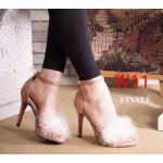 รองเท้าแฟชั่น ส้นสูง รัดข้อ แต่งเฟอร์ฟูนุ่มด้านหน้า ทรงสวยเรียบหรูดูดี ส้นสูงประมาณ 4 นิ้ว แมทสวยได้ทุกชุด