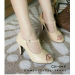 รองเท้าคัทชู เปิดหน้า ดีไซน์เรียบมีสายคาดกลางหน้าเท้าทำให้ดูเท้าเรียวยาว สวมใส่ง่ายเป็นตะขอเกี่ยว วัสดุหนังเกรดเอผิวมัน ส้นสูงประมาณ 3 นิ้ว เสริมด้านหน้าหนาประมาณ 1 cm หนังนิ่ม ทรงสวย ใส่สบาย แมทสวยได้ทุกชุด (c26-048)